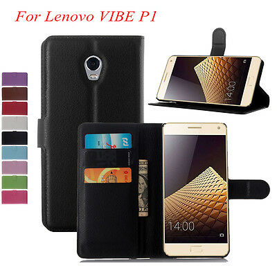 "For Lenovo Vibe P1 5.5"" Slot Wallet Flip Leather Case Cover Stand &Card 9 Color"