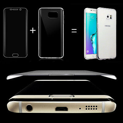 HD Screen Protector Full Cover + Clear Soft Case for Note5/4 S7 S6 Edge Plus