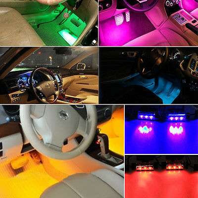 4x3LED Car Charge 12V Auto Interior Decorative 4in1 Atmosphere Light Lamp Hot GN
