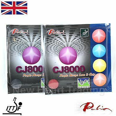 2 x Palio CJ8000 Biotech Table Tennis Rubbers and sponge Long Last Two Side Loop