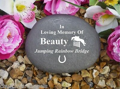 Pet Memorial Personalised Large Pebble (Stone Effect) - Horse Jumping Design