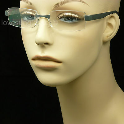 Reading Glasses Rimless Frame Clear Lens Power Strength Magnify New