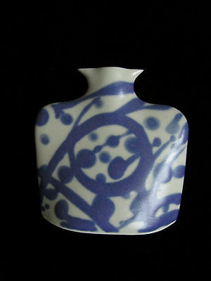 Flow Blue Small Vase Pottery Signed Twice Rare