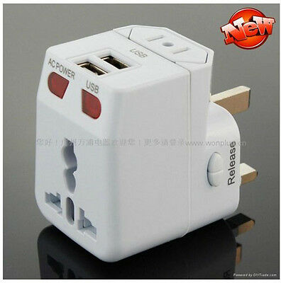 Universal World Travel Adapter/Adaptor Charger Converter UK EU US AU Plug 2 USB