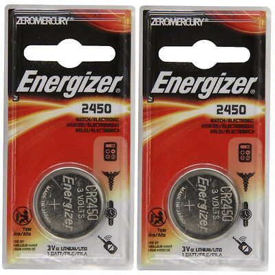 2 Pack Energizer CR2450 ECR2450 CR 2450 3V Lithium Coin Cell Button Battery