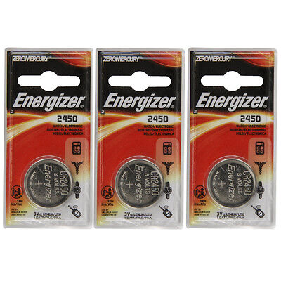 3 Pack Energizer CR2450 ECR2450 CR 2450 3V Lithium Coin Cell Button Battery