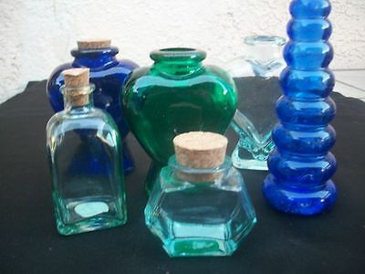 Lot Of 6 Gorgeous Colors Blue, Green & Clear Various Size & Shape Glass Bottle W