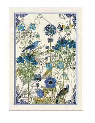 BLUE Cotton Kitchen Towel by  Michel Design Works - Flowers, Bird