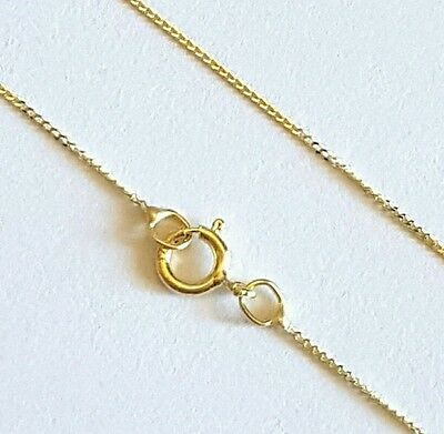 """100% GENUINE & PURE 9ct 9k 375 Yellow Gold 18"""" Diamond cut CURB Chain Necklace"""
