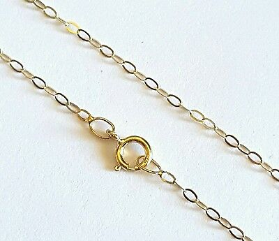 "100% GENUINE 9ct 9k 375 Yellow Gold 16""/40cm Flat Cable Trace Chain Necklace"