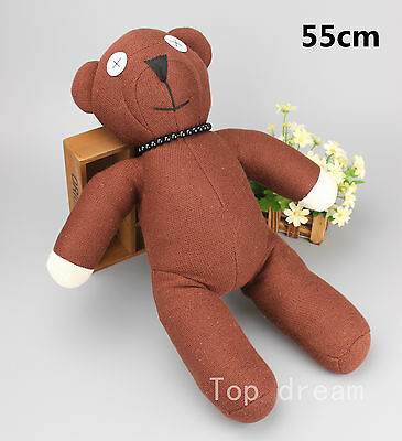 BIG Mr Bean Teddy Bear with Necklace Plush Toy Soft  Doll 55CM 22'' Pillow Gift