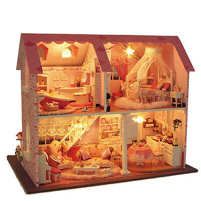 Kit Wood Dollhouse Miniature DIY Dolls House With Furniture Pink Sweet Heart