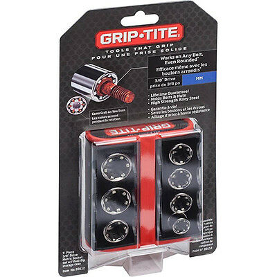 New Grip-Tite - 7 Piece Socket Set 3/8″ Metric - Removing Rounded Nuts & Bolts