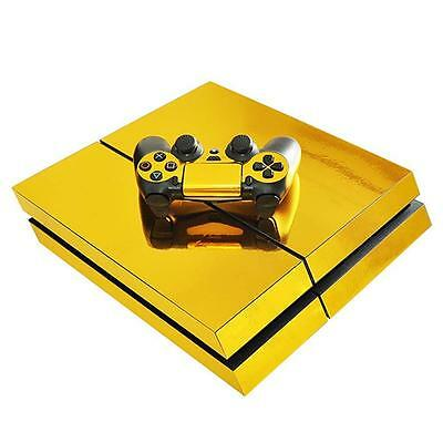 Stylish Gold Glossy PS4 Decal Skin Sticker for PS4 Console + Controllers Skin BG
