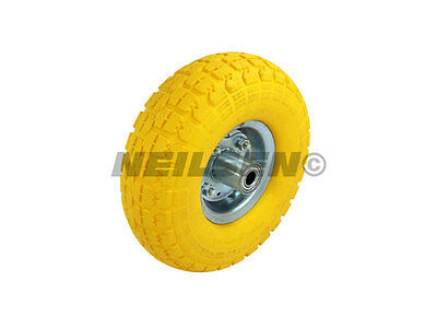 TWO pneumatic solid tubeless sack go cart barrow wheels NEVER PUNCTURE rubber