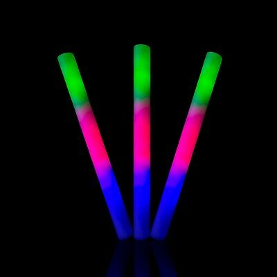"Premium 18"" Flashing LED Multi Coloured Glow in dark Foam Sticks Party Events"