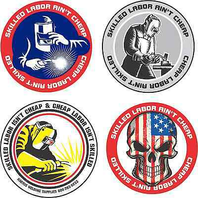 874a75121e57 LOT OF 4 Hard Hat Stickers Helmet Hood Tool Box Decal Label Welder Made in  OHIO