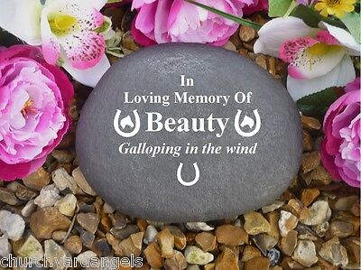 Pet Memorial Personalised Large Pebble (Stone Effect) - Horse Shoe/Head Design2