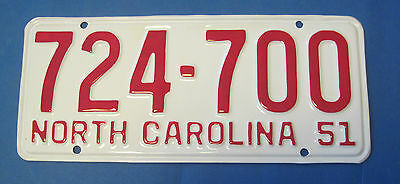 1951 North Carolina License Plate professionally restored show quality