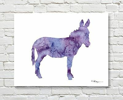 Purple Donkey Abstract Watercolor Painting Burro Art Print by Artist DJ Rogers