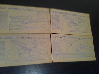 Vintage 1940s Nabisco Shredded wheat AIR PLANES  4pc  How America Travels
