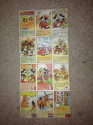 1937 Mickey Mouse Bread Cards Uncut Sheet with Wall Map Premium Disney
