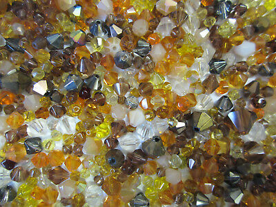 20g Brown & Autumn Tone Bead Mix of Assorted Glass Bicone Beads approx 280 beads