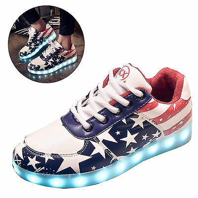 Unisex Women Men USB Charged LED Light Luminous Sneaker Casual Shoes Party Xmas