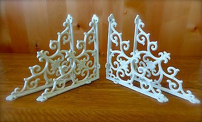 "4 WHITE ANTIQUE-STYLE 9.5"" SHELF BRACKETS CAST IRON rustic garden FANCY ORNATE"