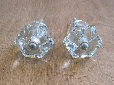 Lot Of 2 Vintage Antique Glass Handles Dresser Drawer Funiture Hardware Artdeco