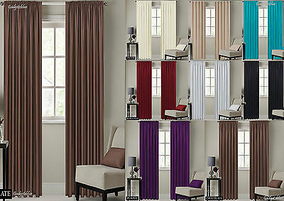 Blackout Ready Made Pencil Pleat / Tape Top Curtains with 2 Tie Backs, 7 Sizes