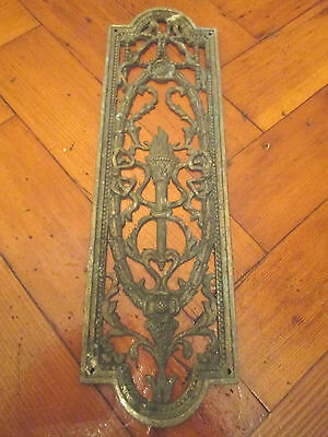 Old Decorative Brass Finger Door Plate Victorian Style