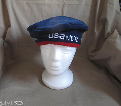New 2002 Salt Lake Winter Olympics Beret USA Navy Blue Roots cap hat Free Ship