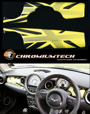 MINI Cooper/S/ONE R55 R56 R57 R58 R59 Yellow Union Jack Dashboard Panel Cover