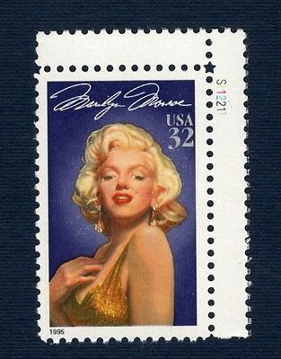 2967 Marilyn Monroe Single W/Plate Number Stamps Mint/nh (Free Shipping)