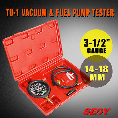 Car Automotive Caburetor Fuel Pump Vacuum Valve Diagnose Tester Gauge Tool Meter