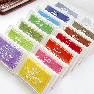 15 Colors Oil Based Ink Pad For Rubber Stamps Paper Wood Craft Fabric SS