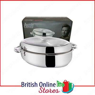 Tefal Jamie Oliver Professional Oval Roasting Tin Pan Stainless Steel with lid
