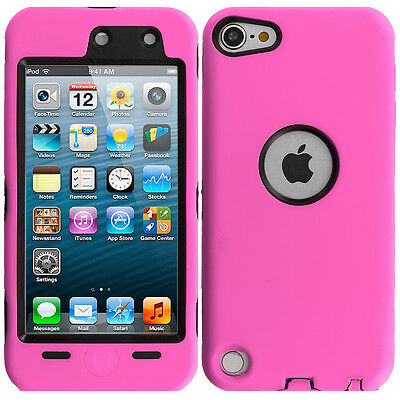 For iPod Touch 6th Gen 6G Hybrid Case Cover+Built in Screen Protector Hot Pink