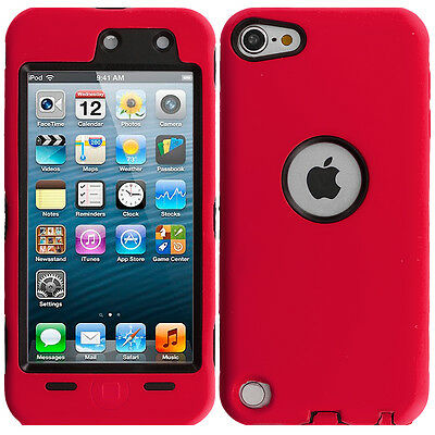 For iPod Touch 6th Gen 6G Hybrid Case Cover+Built in Screen Protector Red