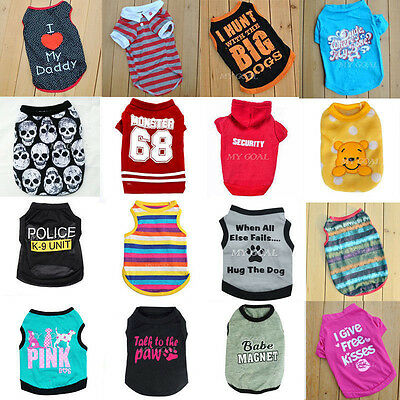 Pet Summer Clothes Puppy Dog Cat Cute T shirt Coat Vest Dress Costumes Apparel