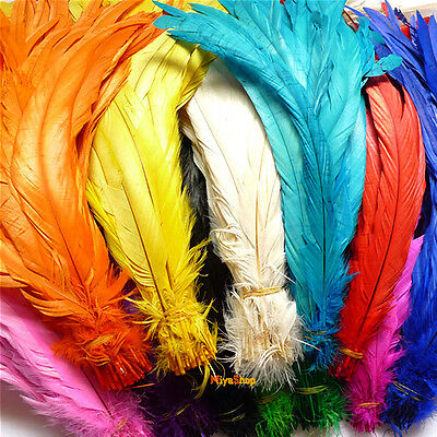 Rooster Tail Cock Feathers 35-40cm Beautiful Colors Dyeing Clothing Accessory 11
