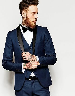 Groom Tuxedo Men's Suit Navy Blue Groomsman Bridegroom Business Wedding Suits