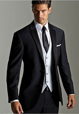 2017 New Black Men's Wedding Formal Occasion Tuxedos & Formal Suits Custom Size