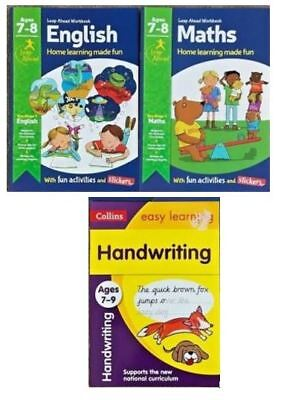 Leap ahead Maths and English  Basics ages 7-8 + handwriting workbooks 7+