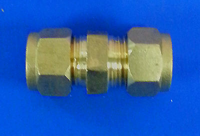 Pack of 5 x 8 mm Brass Compression Coupler Coupling. #63