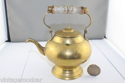 Vintage Brass Tea / Coffee Pot with Wooden Handle, Tin Lined & Round Base