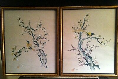 Ho-Uhu Birds, Flowers - Pair Of Watercolor Chinese Prints Framed