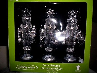 Holiday Home Christmas Color Changing Led Lighted Acrylic Nutcracker Set Of 3