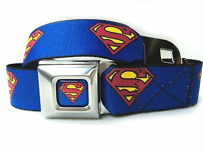 Superman Logo Blue Seatbelt Buckle Belt